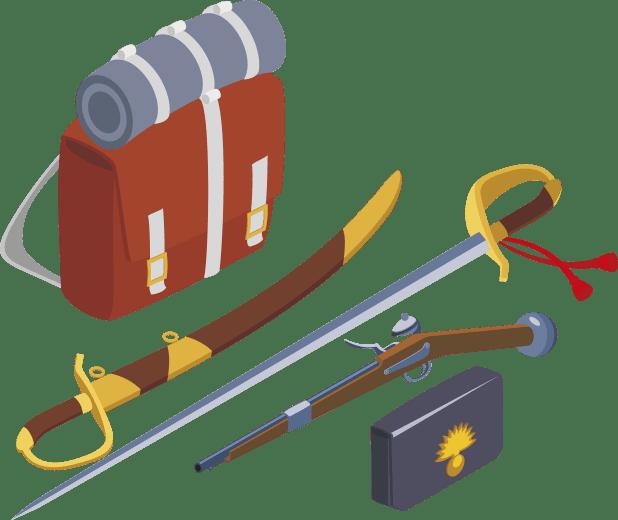 武器と装備のイラスト